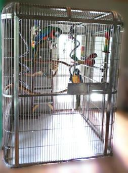 Large Stainless Steel Bird Cage Walkin Aviary Parrot macaw A