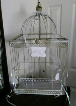 Large Vintage Style Decorative Wedding Metal Bird Cage Card