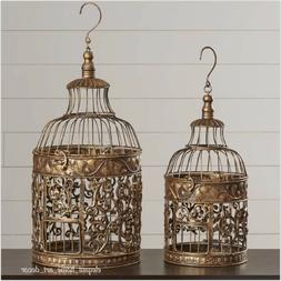 Large Vintage Victorian Bird Cages Set Hanging Scrolled Iron