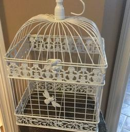 Large White Metal Birdcage For Home Decor or Wedding Cardhol