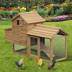 PawHut Large Wooden Outdoor Chicken Coop Hen House with Nest