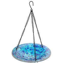 Lily's Home Hanging Colorful Mosaic Glass Bird Bath Bowl - 1