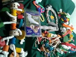 Lot Mix Bird Parrot Cage Rope Swing Blocks Toys Harness Perc