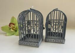 Lot of 2 Antique-Style Metal Gray Decorative Bird Cages Hear