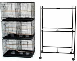 "Lot of 3 Large Bird Breeding Flight Cage 30x18x18""H With Div"