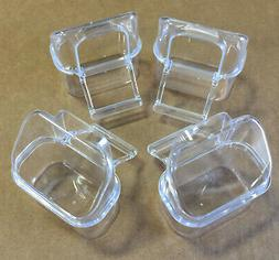 Lot of 4 Clear Transparent Plastic Bird Cage Seed Water Food