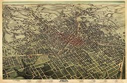 MAP AERIAL BIRDS EYE VIEW ATLANTA GEORGIA 1892 LARGE ART PRI