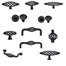 Matte black Birdcage Bird Cage Kitchen Cabinet Drawer Knobs