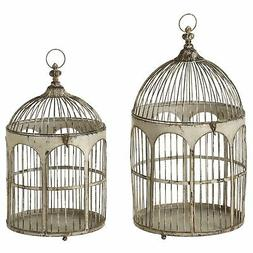 CBK Metal 2 Piece Set Distressed Ivory Round Top Arch Bird C