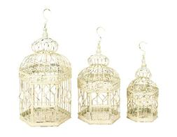 Deco 79 Metal Bird Cage, 21-Inch, 18-Inch and 14-Inch, Set o