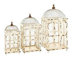 Benzara Metal Bird Cage, Bright White Finish, Set of 3
