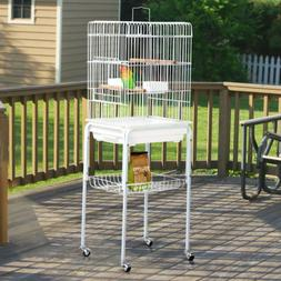 Metal Bird Cage Parakeet Finch Budgie Lovebird Pet Rolling C