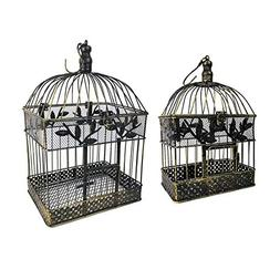 2 Piece Metal Bird Cage Set, Metal, Brown