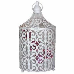 Metal Bird Caged Lantern,White/Pink