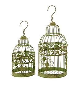 Benzara Metal Birdcages in Dull, Gold Antique Polish, Set of