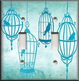 Metal Light Switch Plate Cover Bird Cages Decor Blue Home De