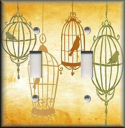 Metal Light Switch Plate Cover Bird Cages Home Decor Golden