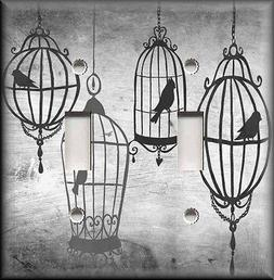 Metal Light Switch Plate Cover Bird Cages Home Decor Grey Ho
