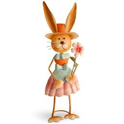 National Tree 27 Inch Metal Rabbit with Pleated Skirt