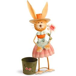 National Tree 27 Inch Metal Rabbit with Pleated Skirt and Po