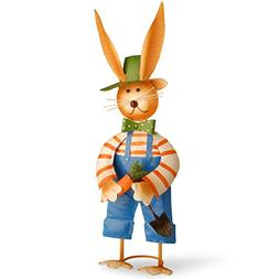 National Tree 27 Inch Metal Rabbit with Blue Pants