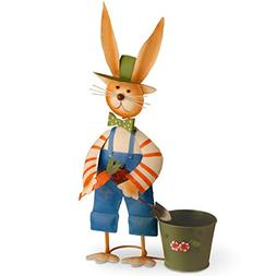 National Tree 27 Inch Metal Rabbit with Blue Pants and Pot