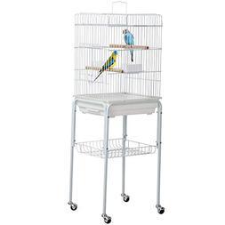 Yaheetech Metal Rolling Bird Cage Parrot Cockatiel House Sta