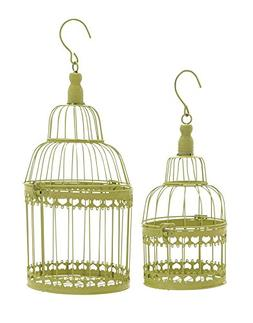 Deco 79 Metal Round Bird Cage, 19 by 15-Inch, Green, Set of