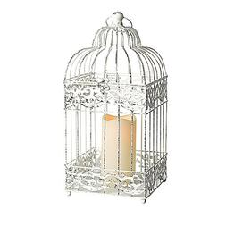 Gerson Metal Square Bird Cage Lantern with 3 by 6-Inch Resin