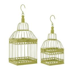 Deco 79 Metal Square Bird Cage, 19 by 15-Inch, Green, Set of