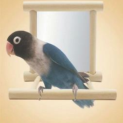 Mirror with Wooden Frame and 2 Landing Perches Bird Cage Bud