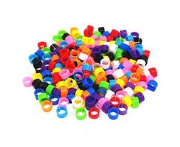 HONBAY 200pcs Mix Color 8mm Foot Ring Bands Bird Clip on Leg