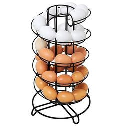 Modern Spiral Design Kitchen Counter-Top Black Metal Egg Ske