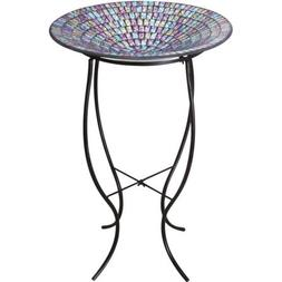 Alpine Mosaic Glass Bird Bath with Metal Stand