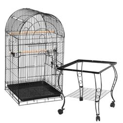63'' Rolling Bird Cage Powder Coated Budgie Conure Lovebird