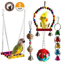 Mrlipet Bird Swing Toys with Colorful Wood Beads Bells and W