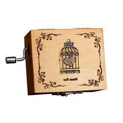 Music Box Wooden Mechanism Classic Toys Hand Crank Decorativ