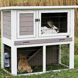 Trixie Natura Animal Hutch with Enclosure in Gray & White, S