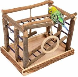 Bird Play Gym Stand Toy Parrot Supply Wood Playpen Ladder Pe