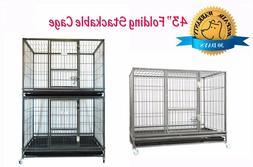 "New Homey Pet 43"" Stackable Heavy Duty Metal Cat Dog Crate C"