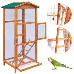 "New 65"" Bird Cage Large Wood Aviary with Metal Grid Flight C"
