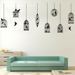 New Bird Cage Black Wall Stickers Living Room Corridor Green