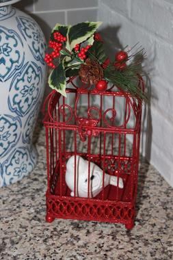 NEW BIRD CAGE w/ Ceramic Bird CHRISTMAS SPARKLE HOLIDAY Home
