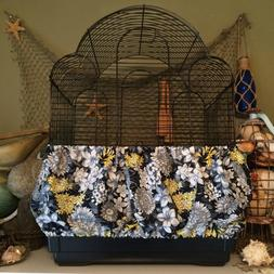 NEW Blue/Yellow floral Fabric Bird Cage Skirt or Cover Seed