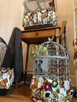NEW Handmade Bold Floral Fabric Bird Cage Skirt Seed Catcher
