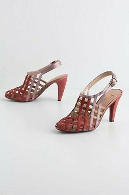 NEW Anthropologie By Farylrobin Caged Ribbon Slingbacks Sued