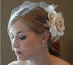 New Champagne/Ivory Flower Fascinator Wedding Bridal Birdcag