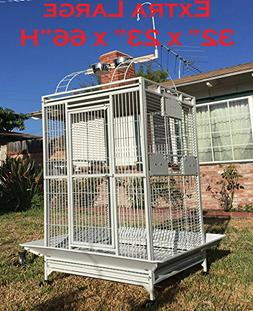 New Large Double Ladders Open Play Top Wrought Iron Bird Par