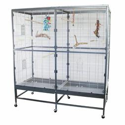 New Large Indoor Aviary Bird Cage On Wheels Parrot Cockatiel