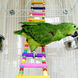 NEW Large Pet Bird Wood Ladder Climb Parrot Cage Swing Shelf